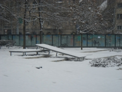 for at least one day, the skater kids were prevented from further damaging the quickly-declining Erzsebet park