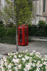 one of the few cities left with so many public phones - maybe everyone will have red cell phones soon