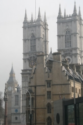 Westminster Abbery and Big Ben from atop a double-decker