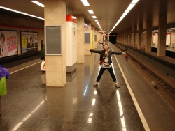 the nice, wide metro station platforms - one of the nice things about Budapest