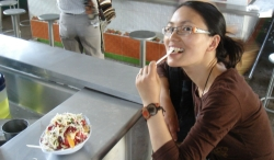 ...gorging on cheap and plentiful fresh fruit salads and juices...