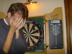 you wouldn't know it by this, but Ognen did win this game of darts