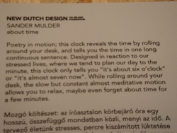 description of the strange clock from the Hungarian-Dutch design festival