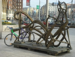 the art in our neighborhood - which doubles as the bike rack for our neighbors