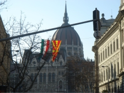 back in Budapest the Macedonian flag is for some reason hosited up next to the Hungarian one in front of parliament