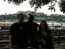 """Jeremy sez: """"Ognen forced us to take a picture with this little girl statue"""""""