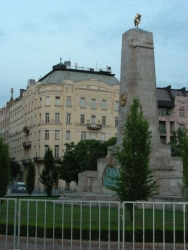 The last remaining Communist monument in Budapest, with the American Embassy in the background