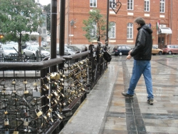 ... a bridge with a bunch of padlocks (no one is stealing this bridge)...