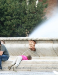 local girl being attacked by local fountain