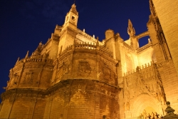 Sevilla's cathedral by night