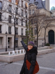 Juan points to her choice for our new flat in Paris - right across the street from the Sorbone