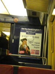 "not sure ""Wall Street English"" is the best language to speak these days (this ad was all over Paris)"